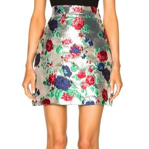 2 NWT MSGM Metallic Skirt in Silver Floral 38